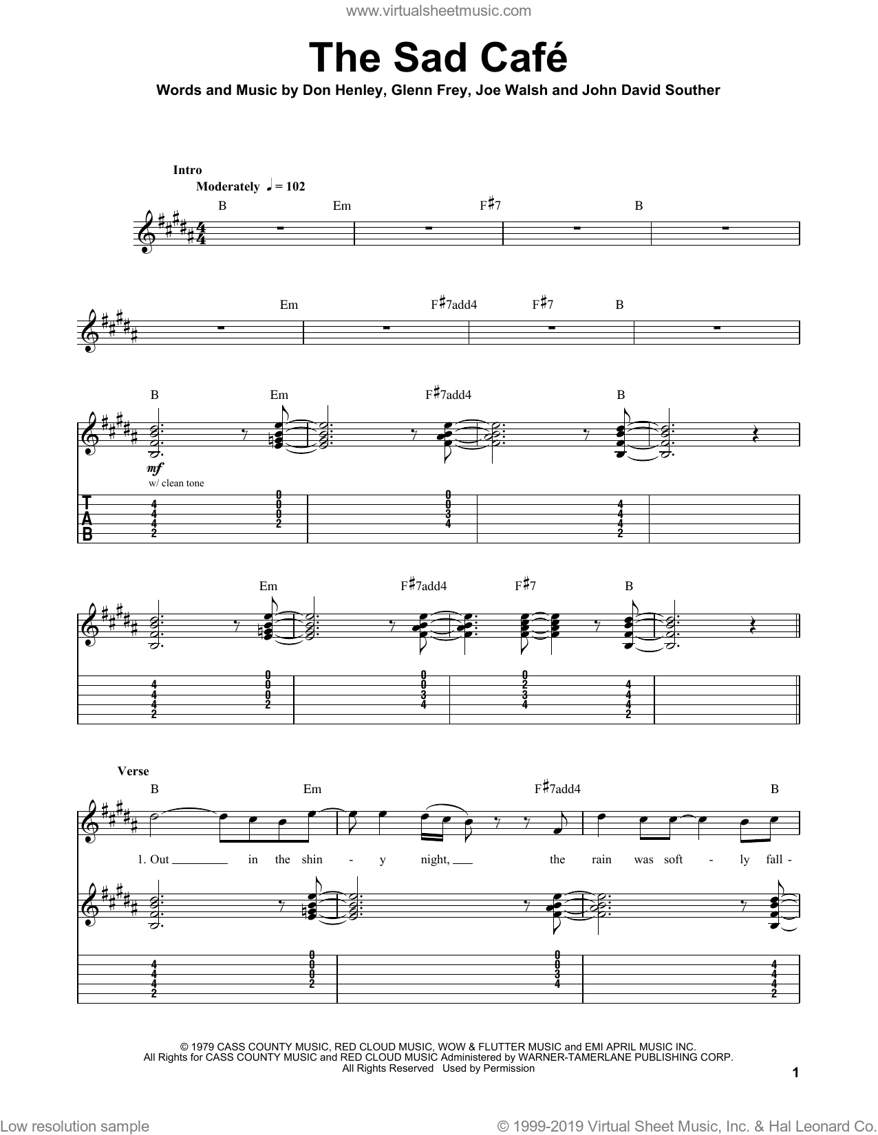 The Sad Cafe sheet music for guitar (tablature, play-along) by Eagles and The Eagles. Score Image Preview.