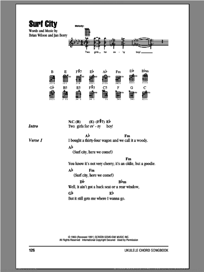 Surf City sheet music for ukulele (chords) by Jan & Dean, Brian Wilson and Jan Berry, intermediate skill level