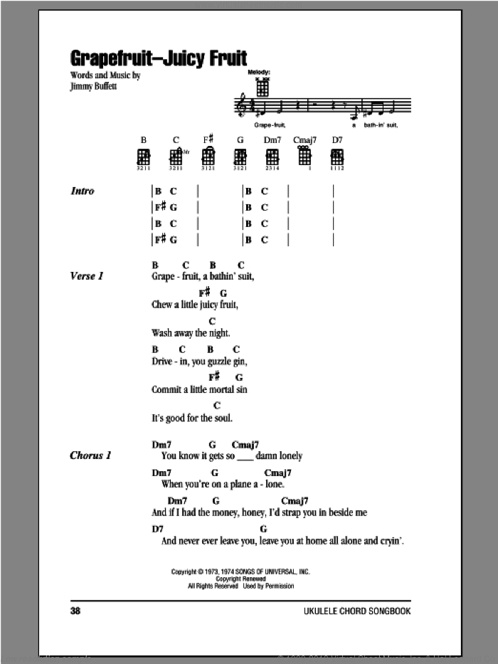 Grapefruit-Juicy Fruit sheet music for ukulele (chords) by Jimmy Buffett. Score Image Preview.
