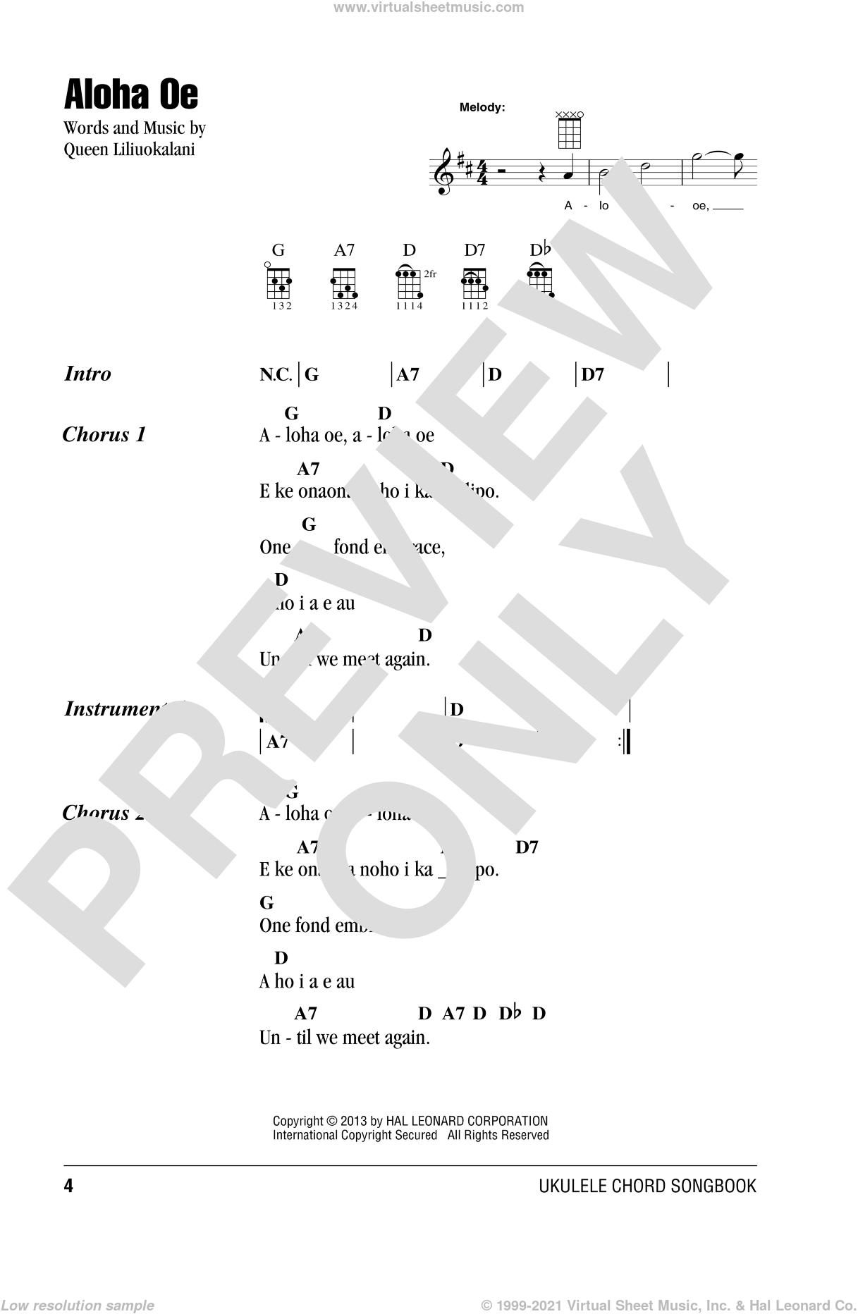 Aloha Oe sheet music for ukulele (chords) by Queen Liliuokalani, intermediate skill level