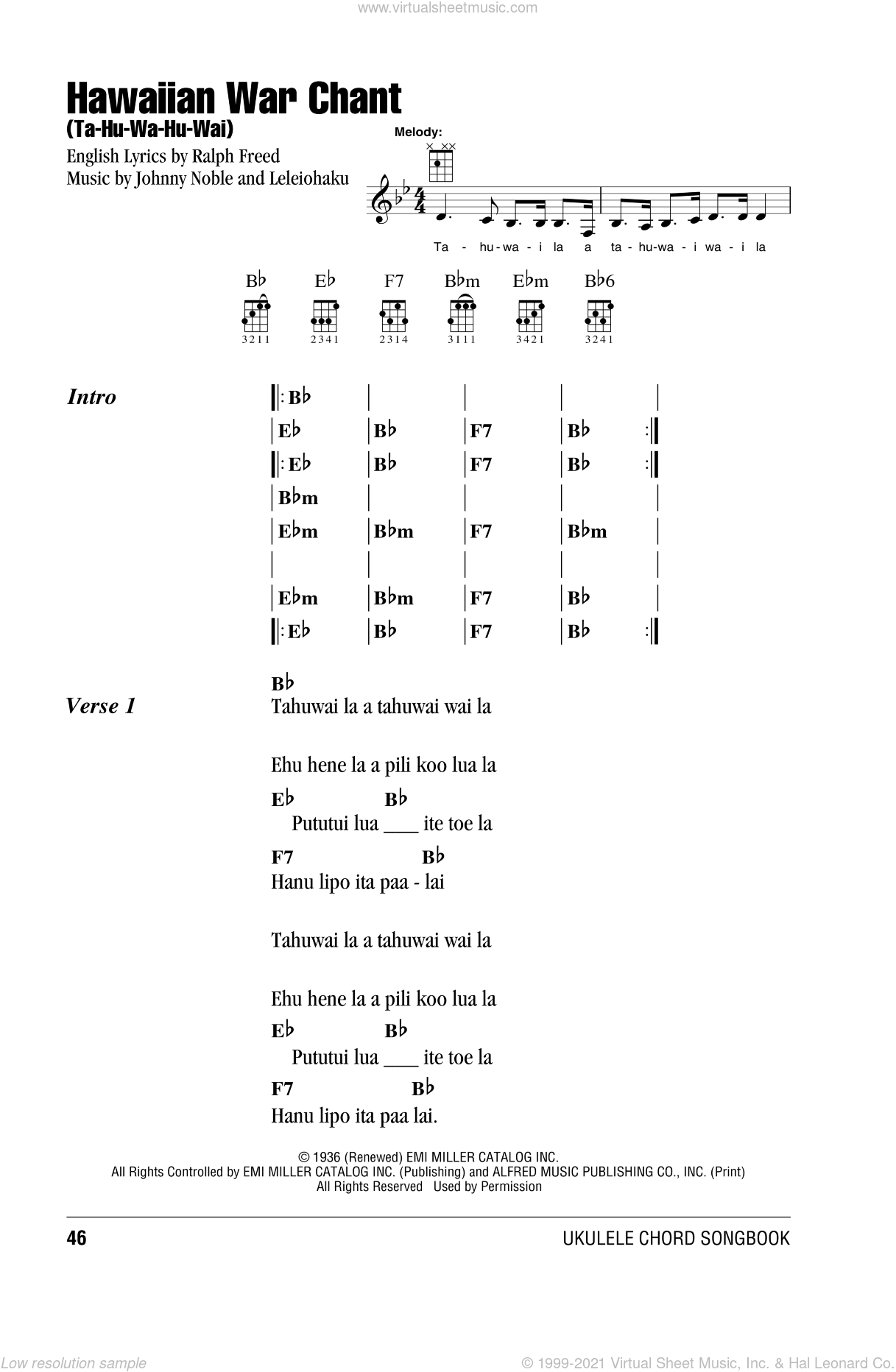 Hawaiian War Chant (Ta-Hu-Wa-Hu-Wai) sheet music for ukulele (chords) by Ralph Freed