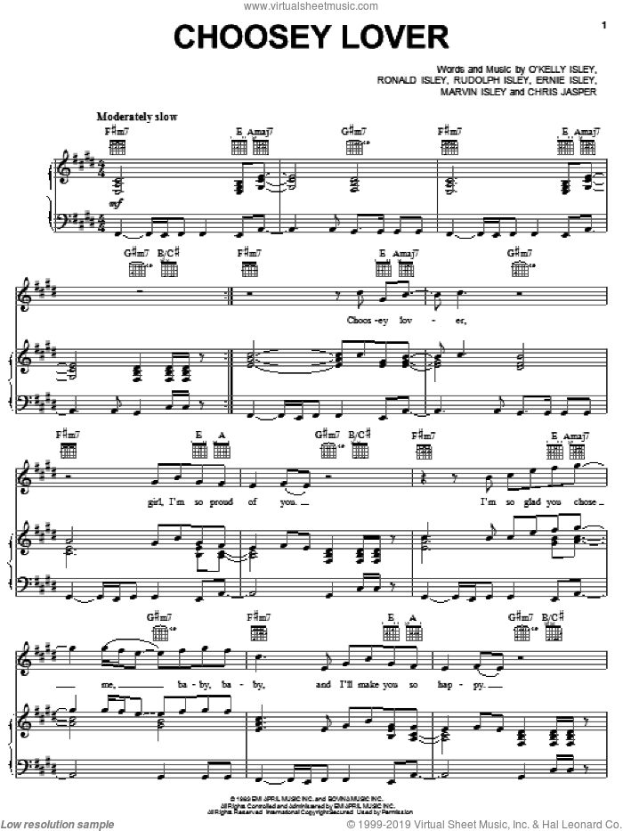 Choosey Lover sheet music for voice, piano or guitar by Rudolph Isley