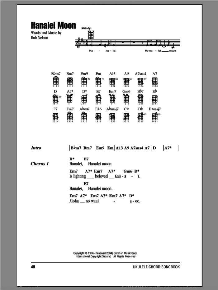 Hanalei Moon sheet music for ukulele (chords) by Bob Nelson, intermediate. Score Image Preview.