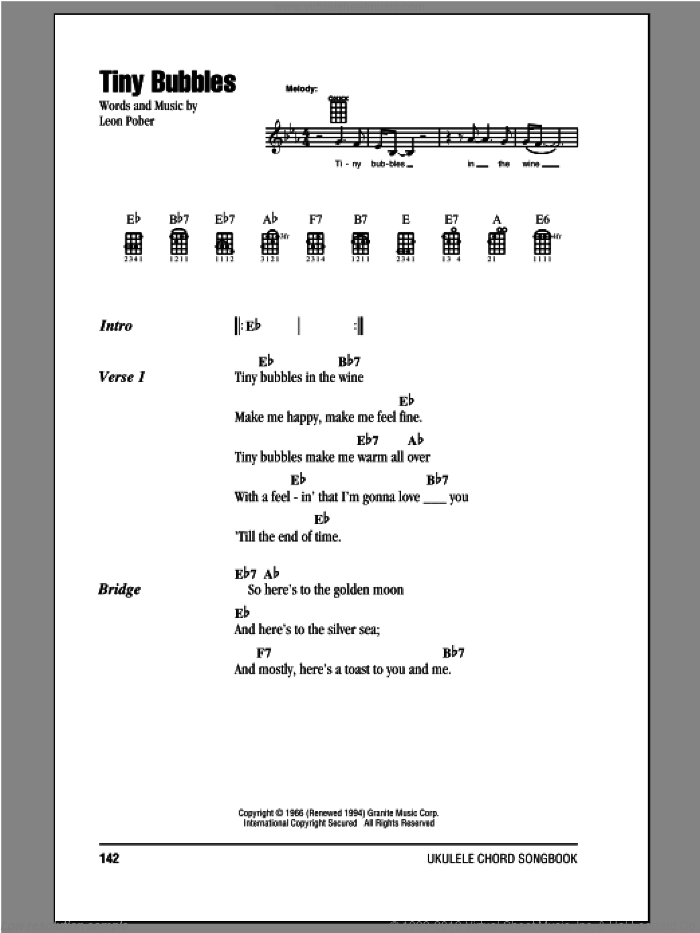 Tiny Bubbles sheet music for ukulele (chords) by Don Ho and Leon Pober. Score Image Preview.