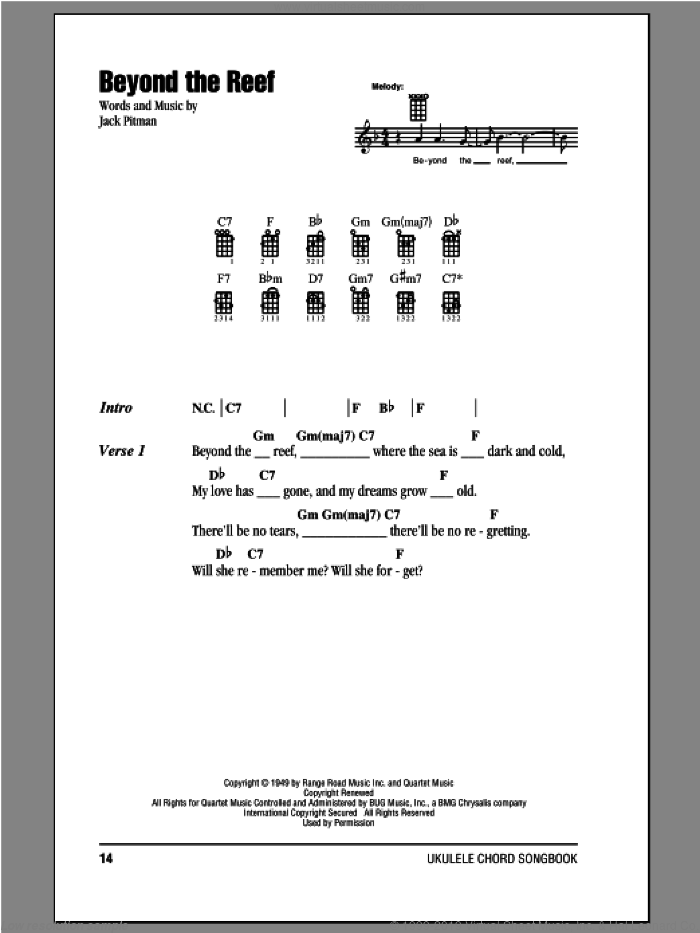 Beyond The Reef sheet music for ukulele (chords) by Jack Pitman. Score Image Preview.