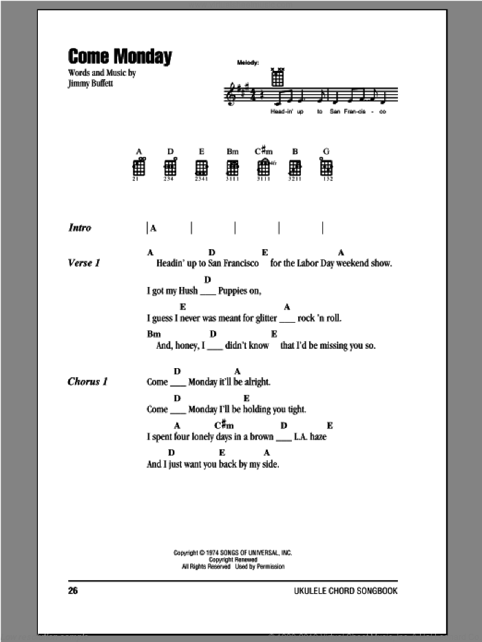 Come Monday sheet music for ukulele (chords) by Jimmy Buffett. Score Image Preview.