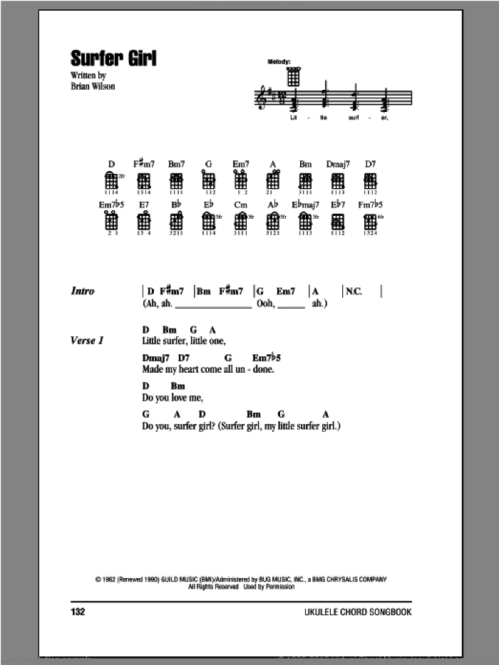 Surfer Girl sheet music for ukulele (chords) by The Beach Boys, intermediate. Score Image Preview.