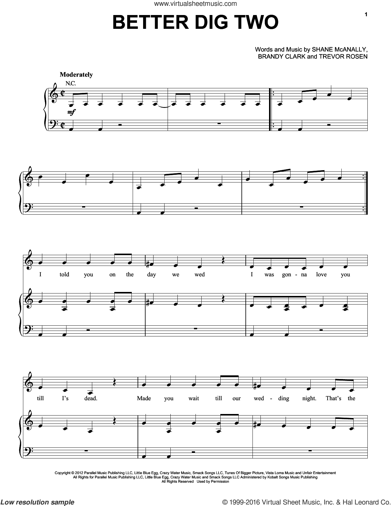 Better Dig Two sheet music for voice, piano or guitar by Trevor Rosen