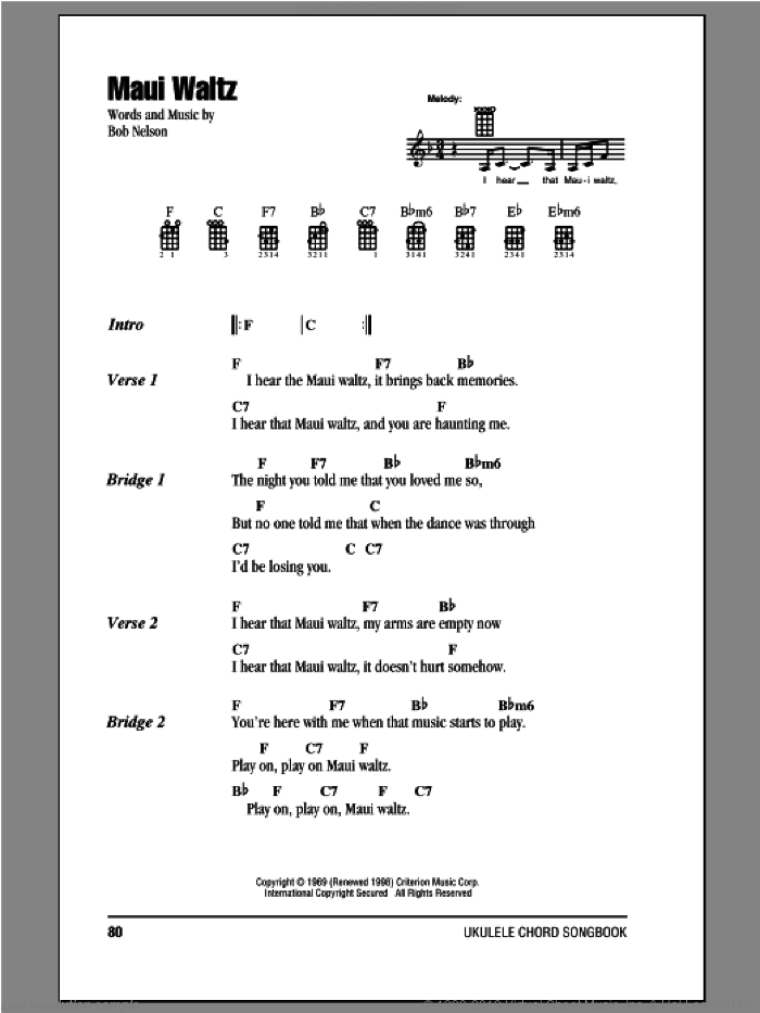 Maui Waltz sheet music for ukulele (chords) by Bob Nelson, intermediate. Score Image Preview.