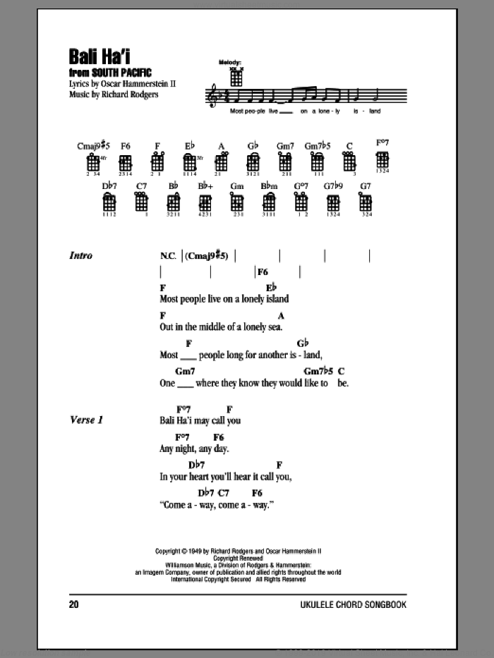 Bali Ha'i sheet music for ukulele (chords) by Rodgers & Hammerstein, Oscar II Hammerstein and Richard Rodgers, intermediate skill level