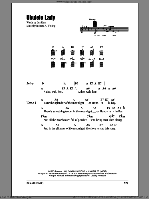 Ukulele Lady sheet music for ukulele (chords) by Gus Kahn and Richard A. Whiting. Score Image Preview.