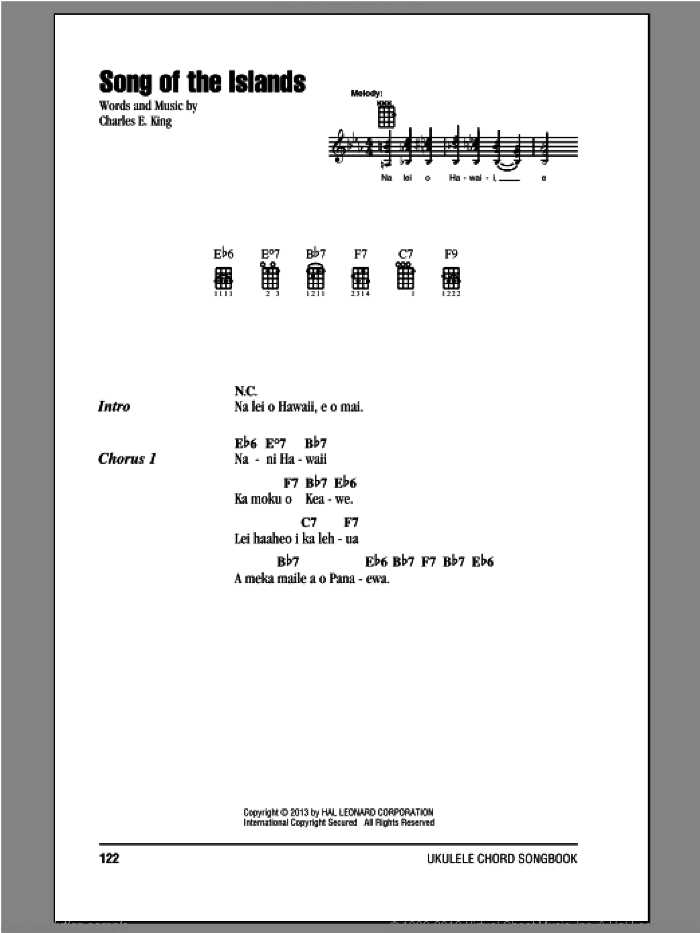 Song Of The Islands sheet music for ukulele (chords) by Charles E. King