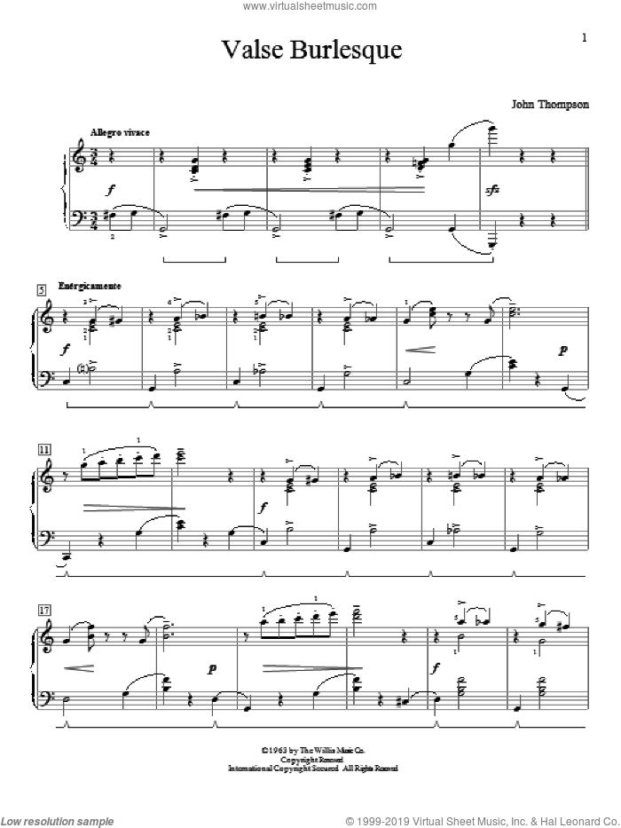 Valse Burlesque sheet music for piano solo (elementary) by John Thompson, beginner piano (elementary)