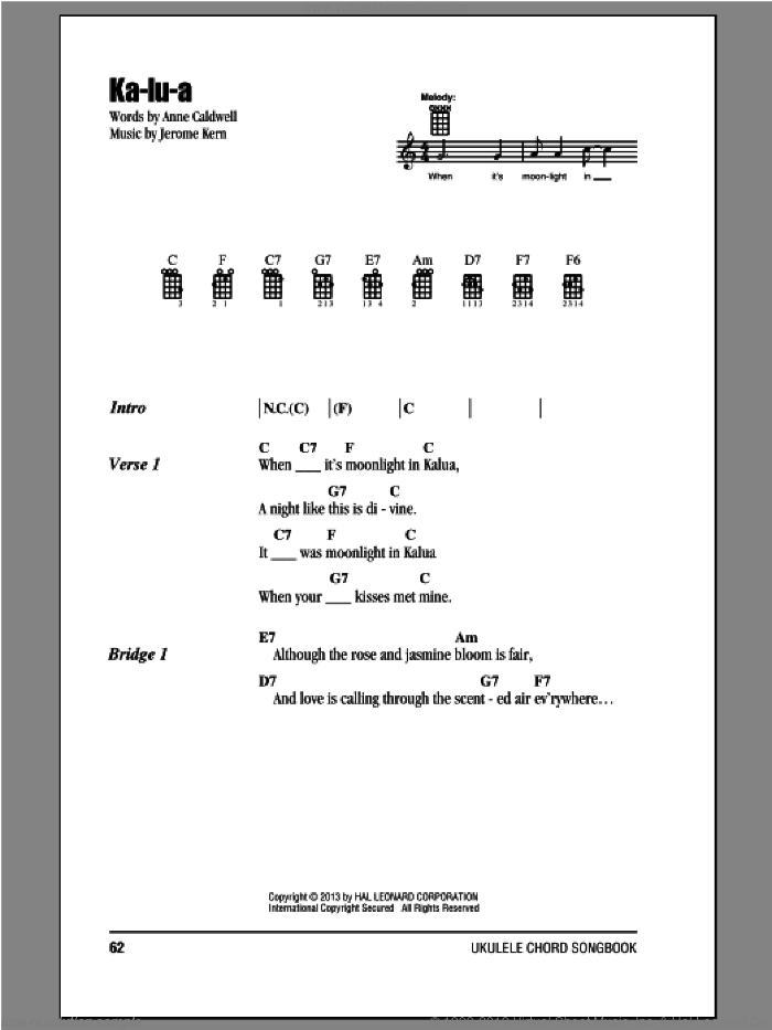 Ka-lu-a sheet music for ukulele (chords) by Jerome Kern and Anne Caldwell. Score Image Preview.