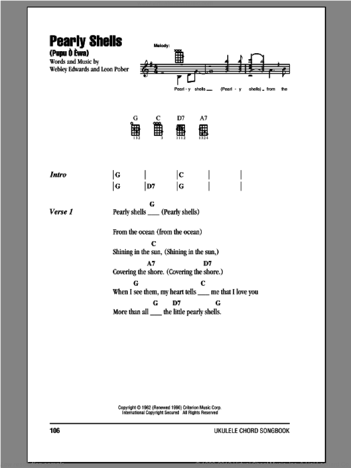 Pearly Shells (Pupu O Ewa) sheet music for ukulele (chords) by Leon Pober, Don Ho and Webley Edwards. Score Image Preview.