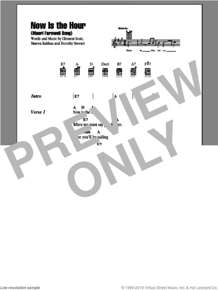 Now Is The Hour (Maori Farewell Song) sheet music for ukulele (chords) by Bing Crosby