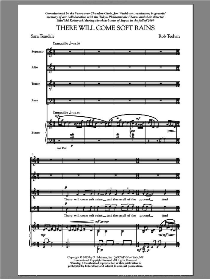 There Will Come Soft Rains sheet music for choir and piano (SATB) by Rob Teehan and Sara Teasdale. Score Image Preview.