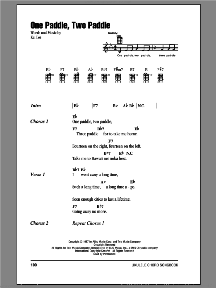 One Paddle, Two Paddle sheet music for ukulele (chords) by Kui Lee, intermediate. Score Image Preview.