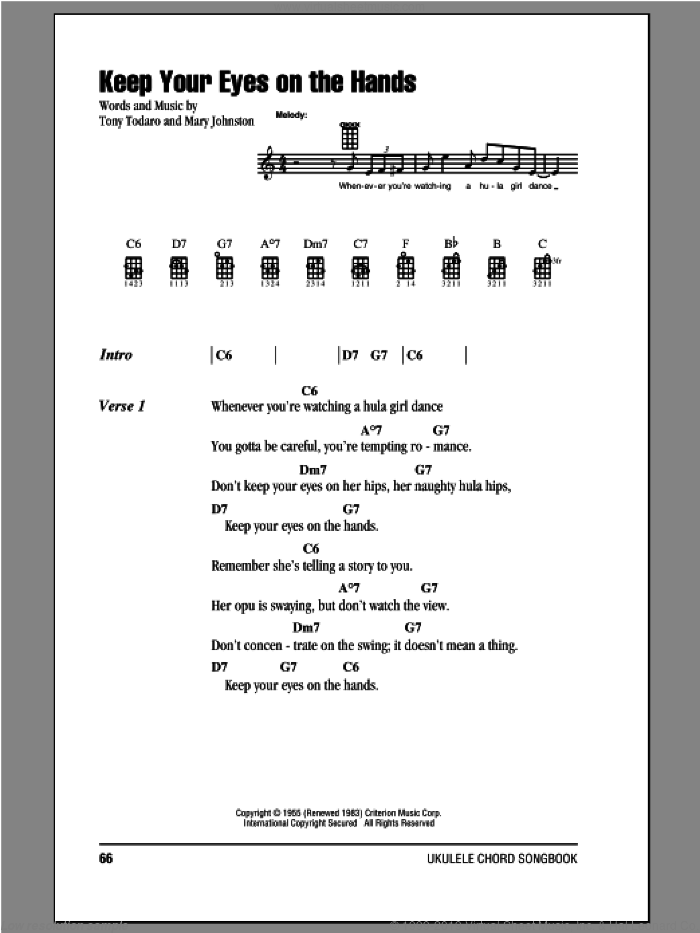 Keep Your Eyes On The Hands sheet music for ukulele (chords) by Tony Todaro. Score Image Preview.