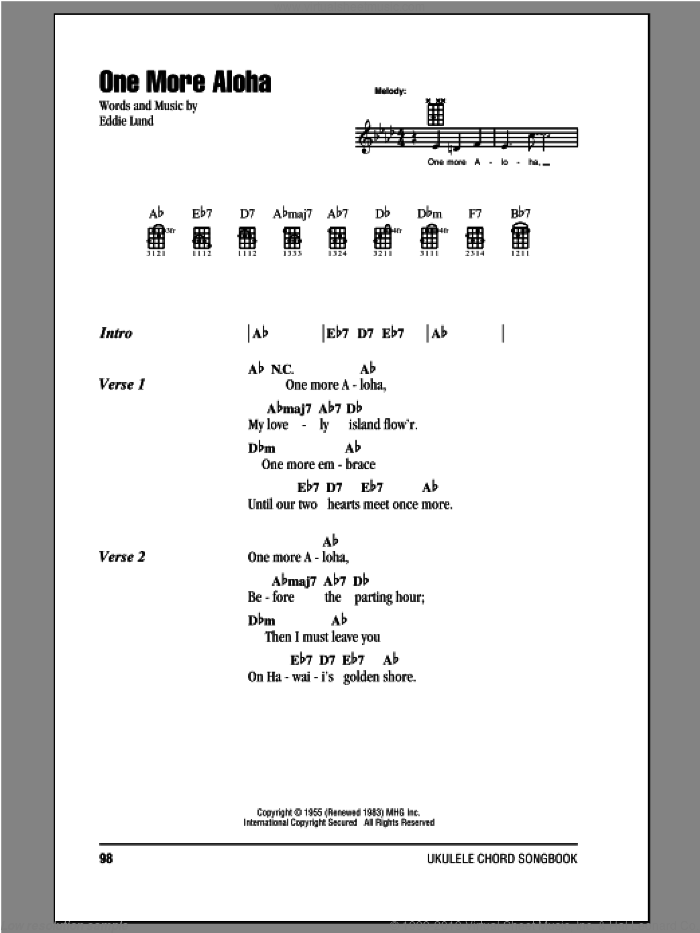 One More Aloha sheet music for ukulele (chords) by Eddie Lund. Score Image Preview.