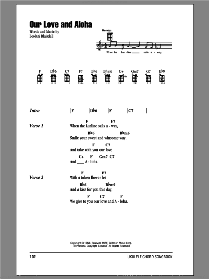 Our Love And Aloha sheet music for ukulele (chords) by Leolani Blaisdell. Score Image Preview.