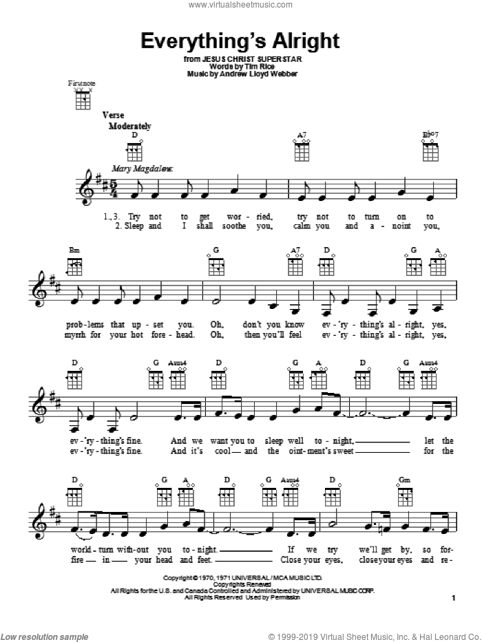 Everything's Alright sheet music for ukulele by Andrew Lloyd Webber and Tim Rice, intermediate skill level
