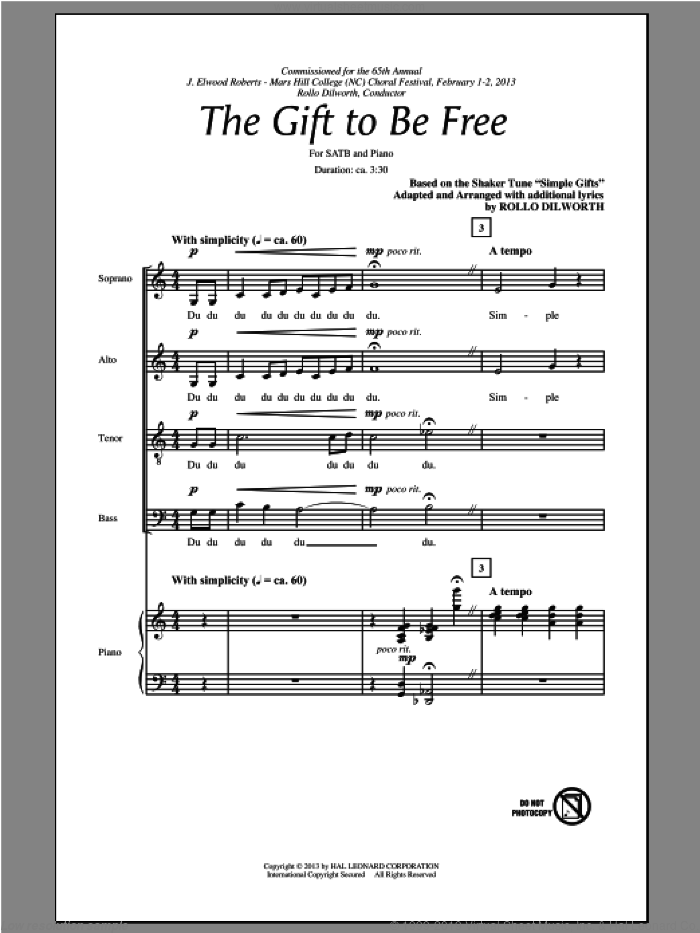 The Gift To Be Free sheet music for choir (SATB) by Rollo Dilworth. Score Image Preview.