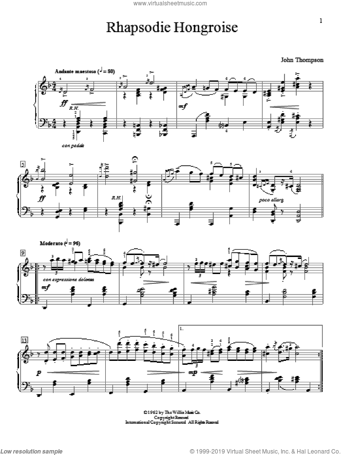 Rhapsodie Hongroise sheet music for piano solo (elementary) by John Thompson, beginner piano (elementary)
