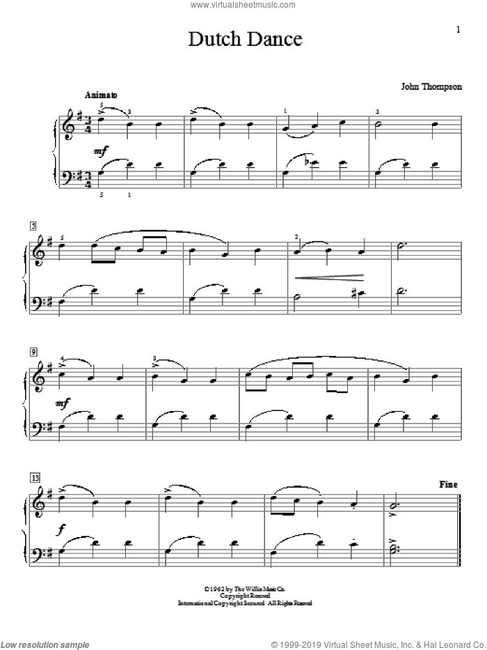 Dutch Dance sheet music for piano solo (elementary) by John Thompson, beginner piano (elementary)