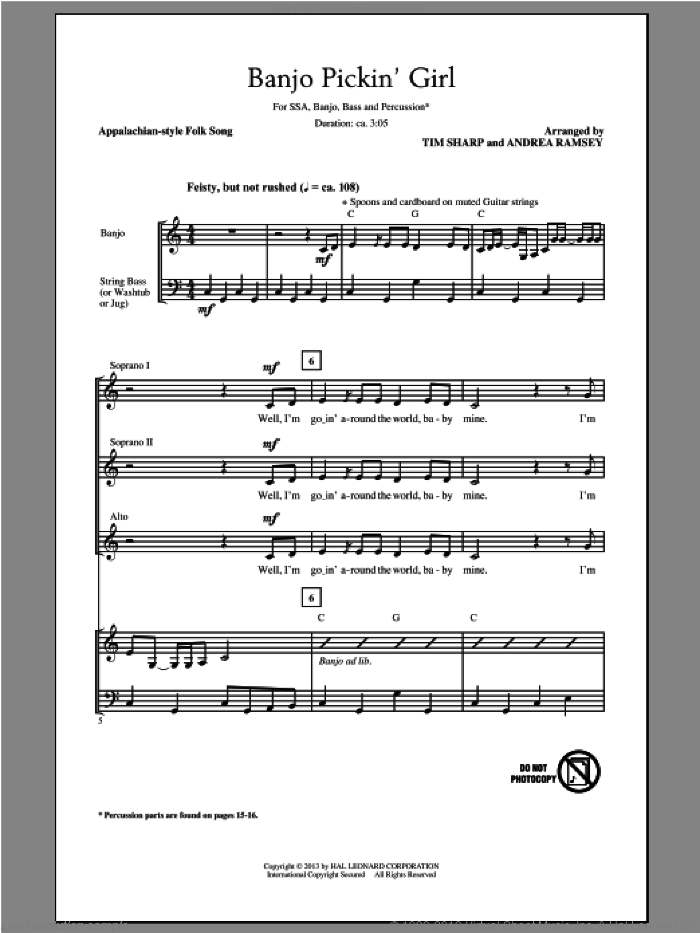 Banjo Pickin' Girl sheet music for choir (soprano voice, alto voice, choir) by Tim Sharp and Andrea Ramsey. Score Image Preview.