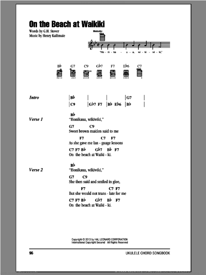 On The Beach At Waikiki sheet music for ukulele (chords) by Henry Kailimaie and G.H. Stover. Score Image Preview.