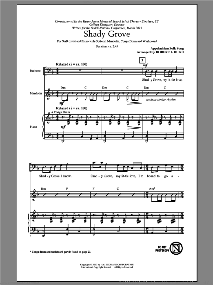 Shady Grove sheet music for choir (SAB) by Robert I. Hugh. Score Image Preview.