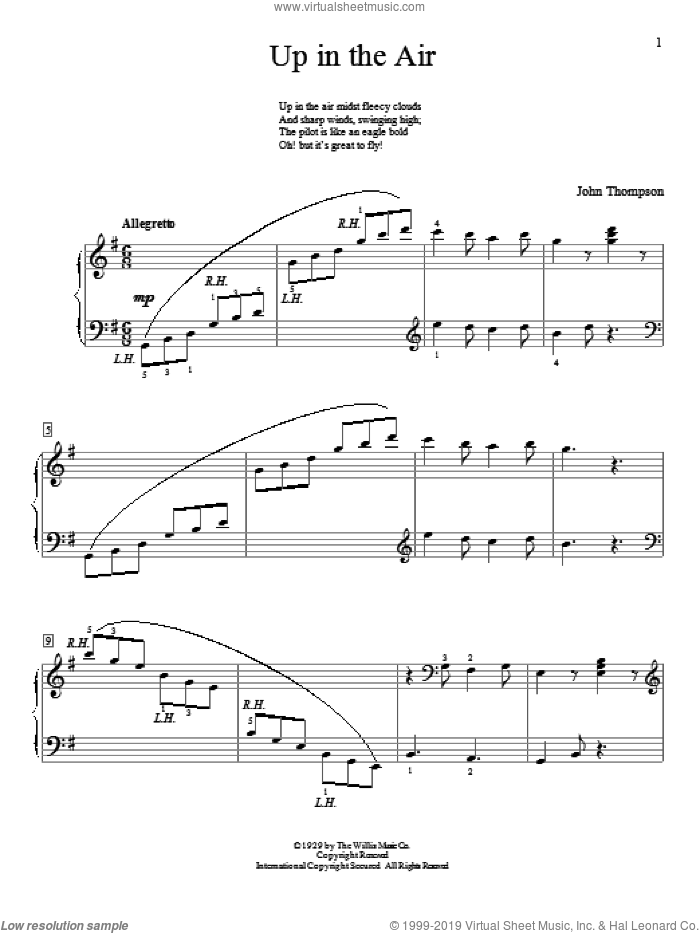 Up In The Air sheet music for piano solo (elementary) by John Thompson, beginner piano (elementary). Score Image Preview.
