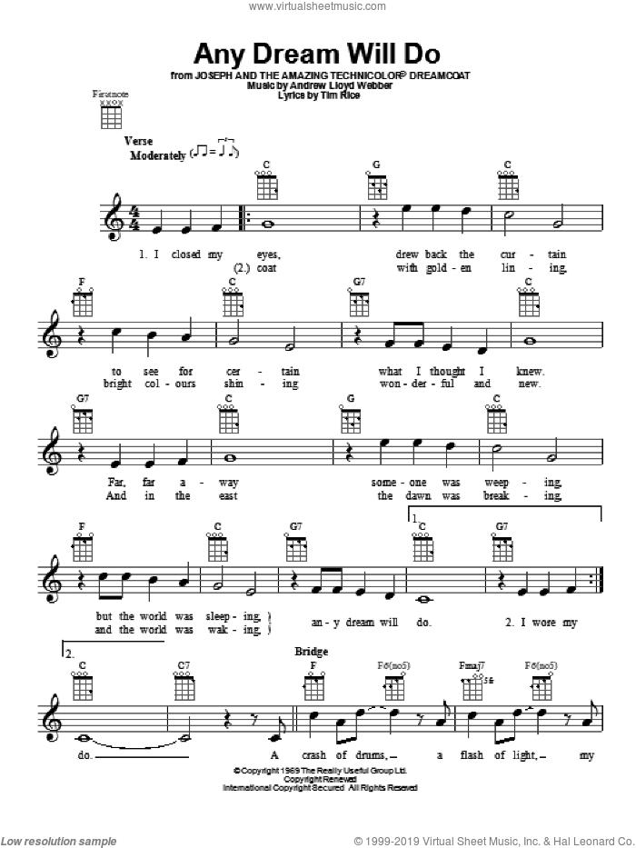 Any Dream Will Do sheet music for ukulele by Andrew Lloyd Webber, intermediate skill level