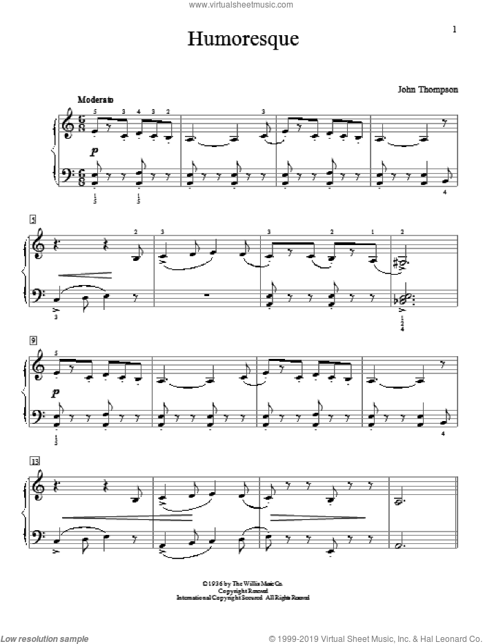 Humoresque sheet music for piano solo (elementary) by John Thompson, beginner piano (elementary). Score Image Preview.