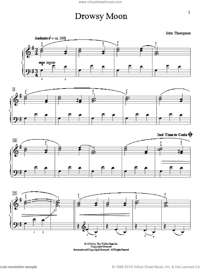 Drowsy Moon sheet music for piano solo (elementary) by John Thompson
