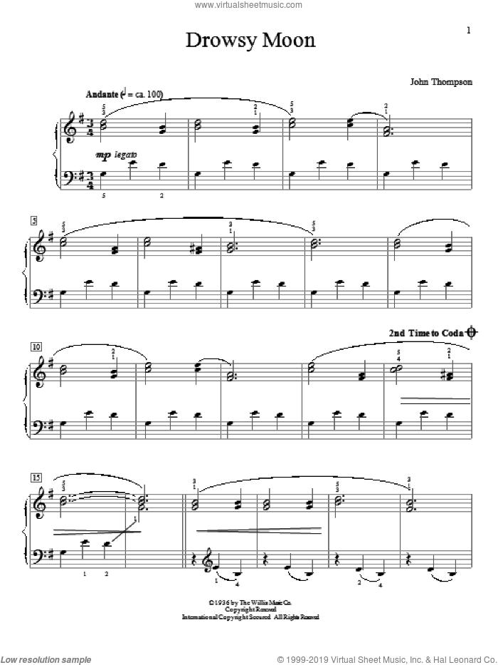 Drowsy Moon sheet music for piano solo (elementary) by John Thompson, beginner piano (elementary)