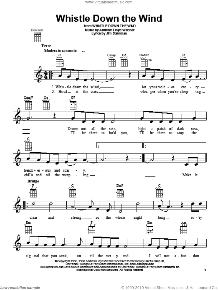 Whistle Down The Wind sheet music for ukulele by Andrew Lloyd Webber, intermediate skill level