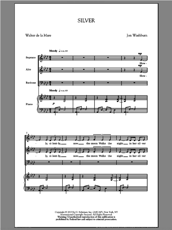 Silver sheet music for choir (SAB) by Walter De La Mare and Jon Washburn. Score Image Preview.