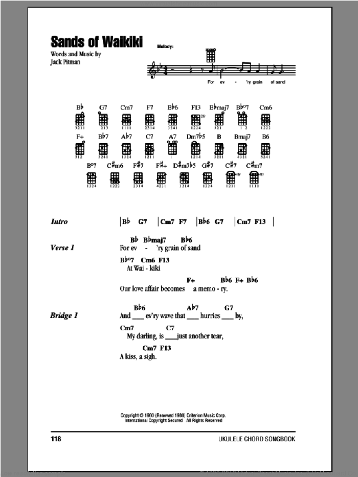 Sands Of Waikiki sheet music for ukulele (chords) by Jack Pitman, intermediate. Score Image Preview.