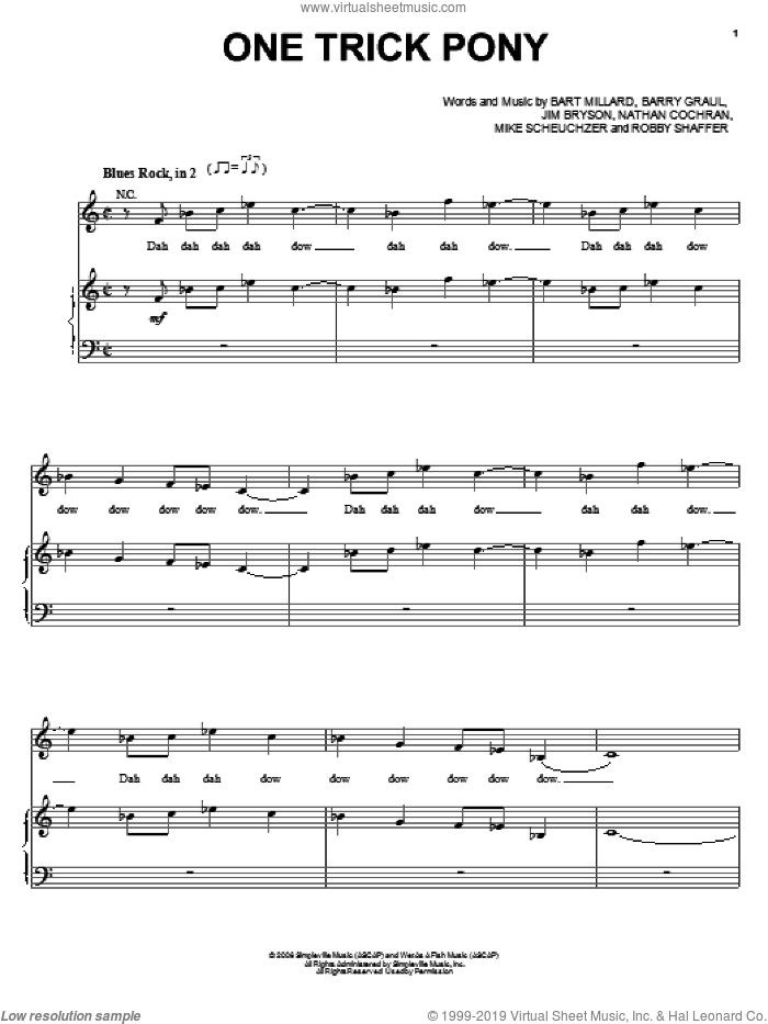 One Trick Pony sheet music for voice, piano or guitar by MercyMe