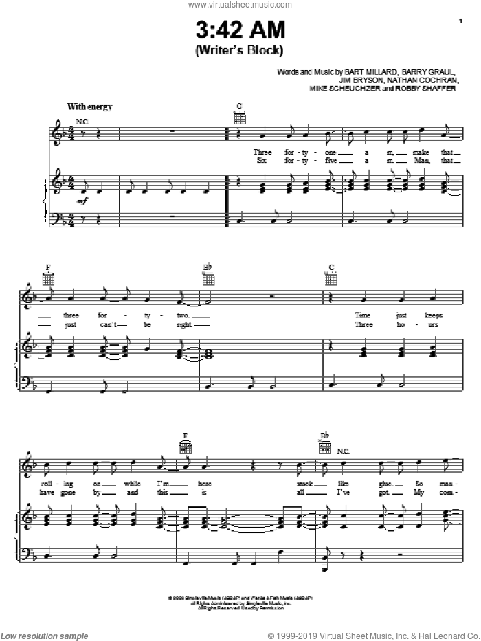 3:42 AM (Writer's Block) sheet music for voice, piano or guitar by MercyMe. Score Image Preview.