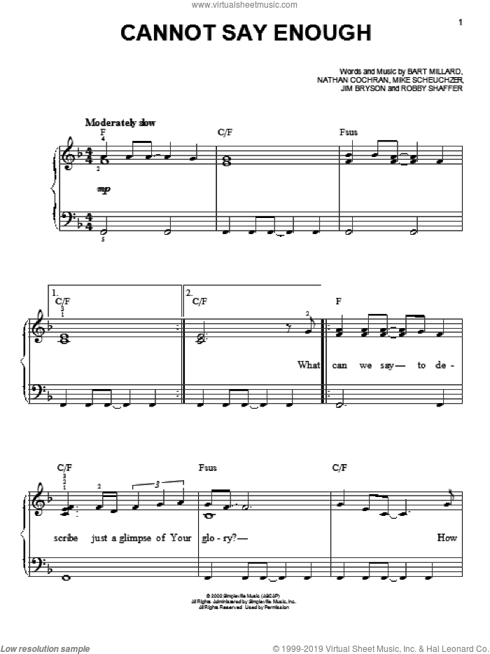 Cannot Say Enough sheet music for piano solo by MercyMe. Score Image Preview.