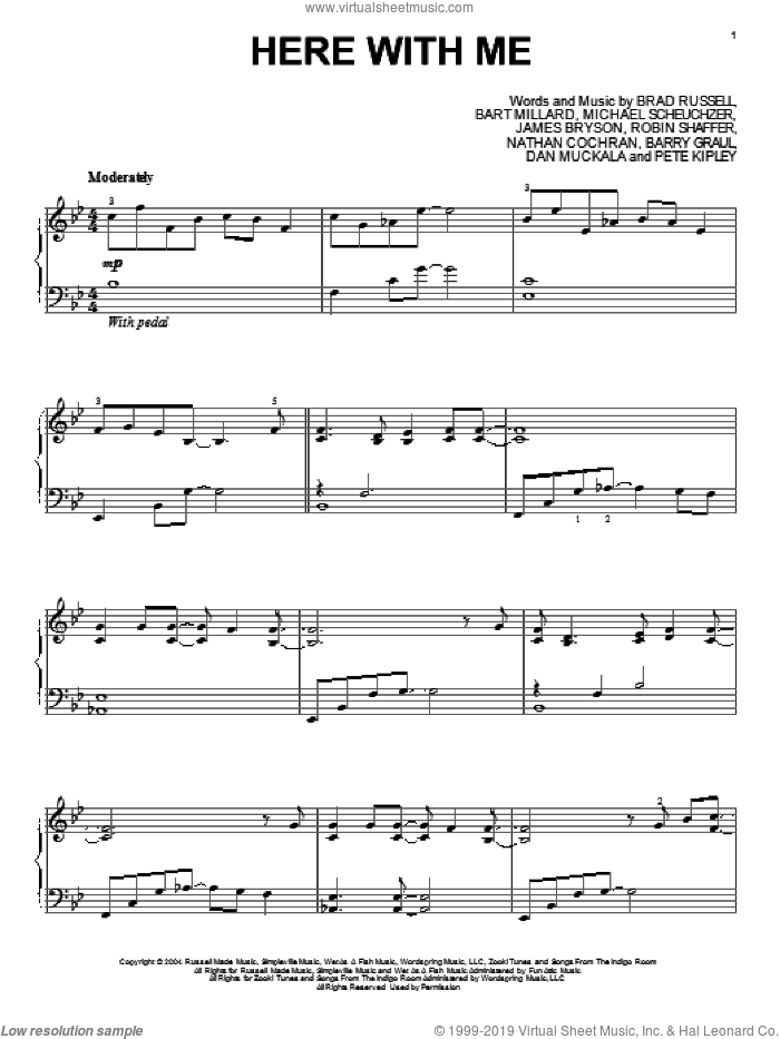 Here With Me sheet music for piano solo by MercyMe, intermediate skill level