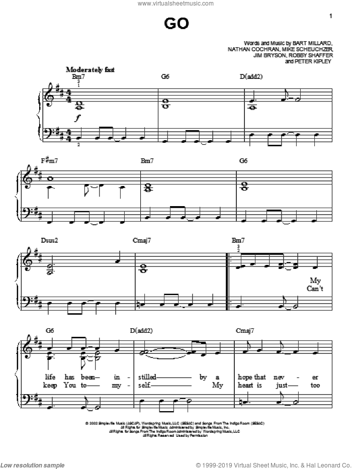 Go sheet music for piano solo by MercyMe, easy skill level
