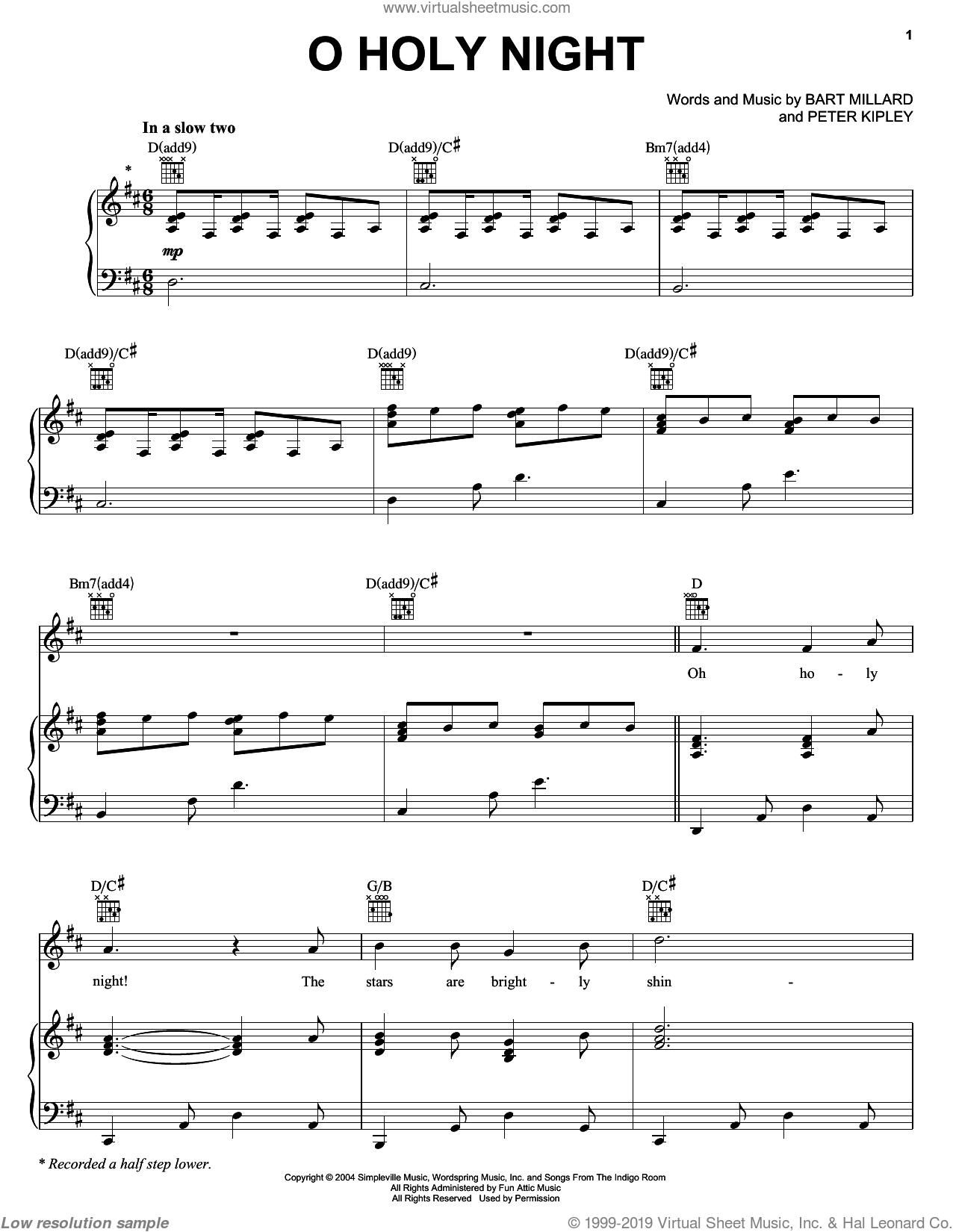 Oh Holy Night sheet music for voice, piano or guitar by MercyMe. Score Image Preview.