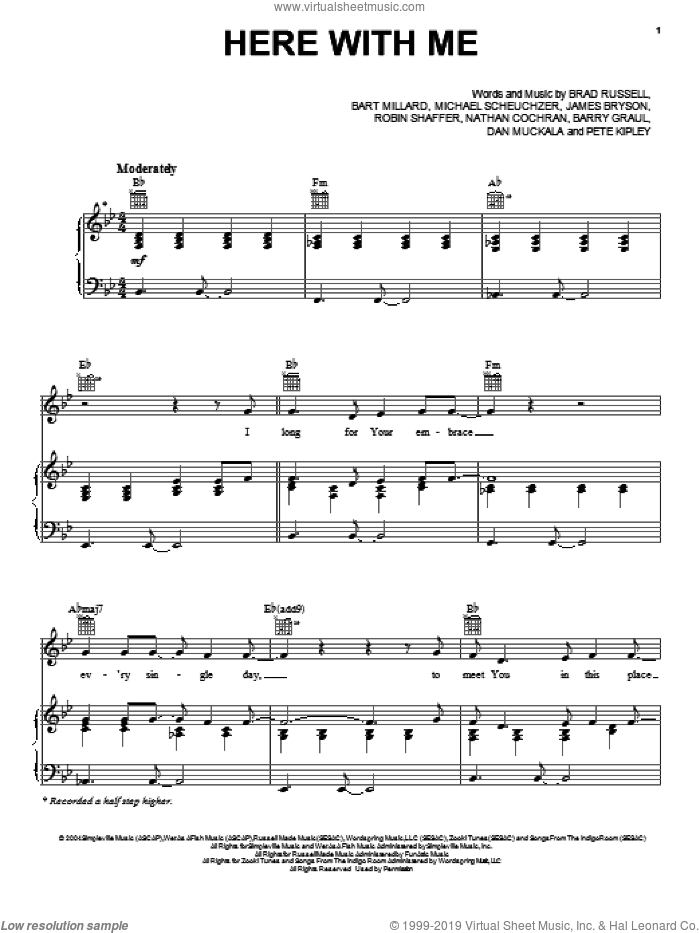 Here With Me sheet music for voice, piano or guitar by MercyMe. Score Image Preview.