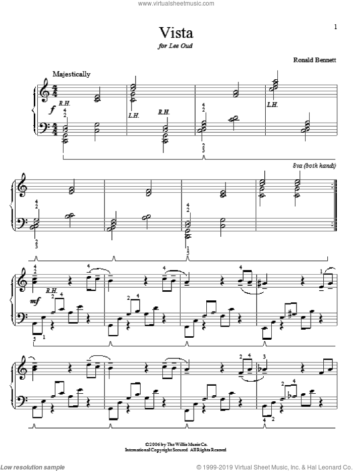 Vista sheet music for piano solo (elementary) by Ronald Bennett, beginner piano (elementary)
