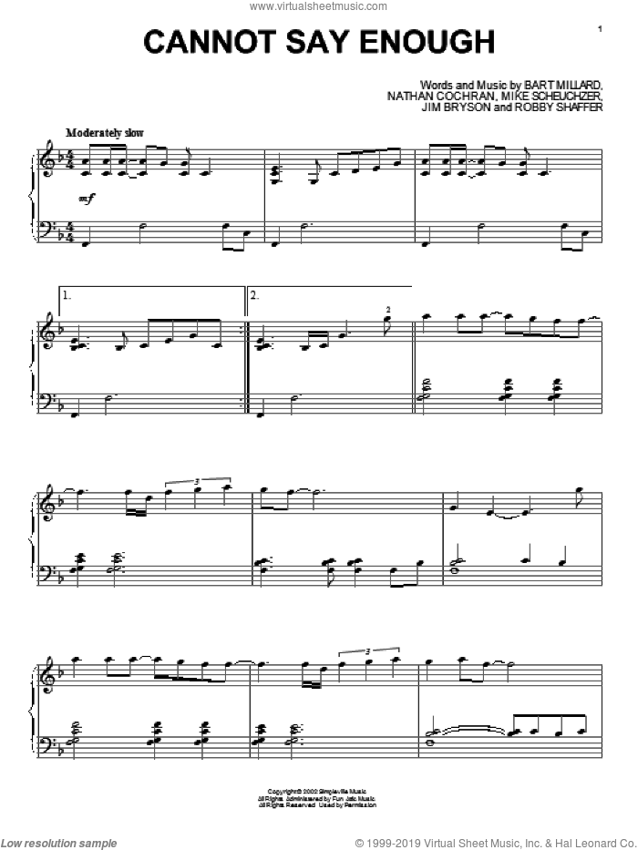 Cannot Say Enough sheet music for piano solo by MercyMe