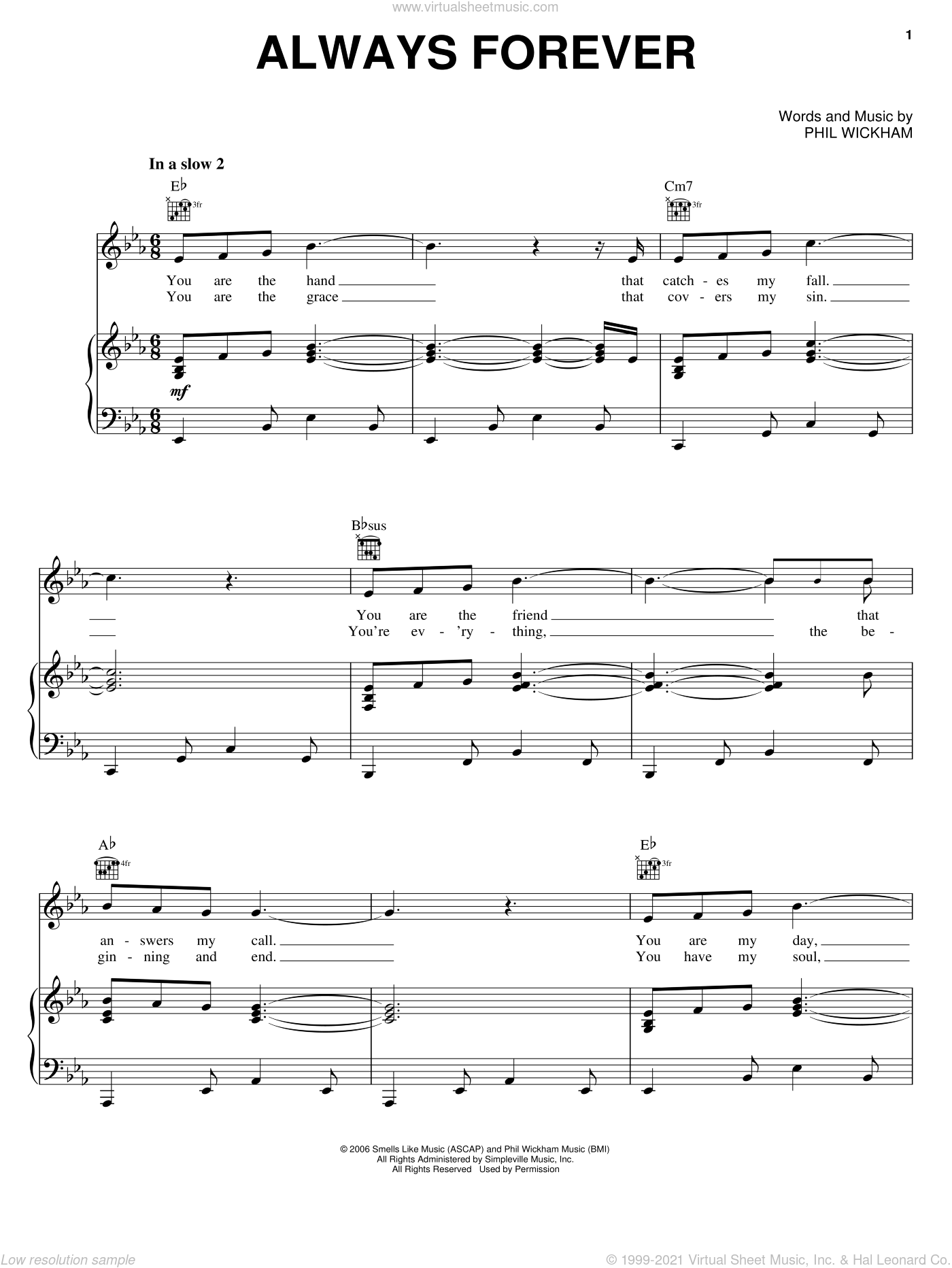 Always Forever sheet music for voice, piano or guitar by Phil Wickham, intermediate skill level